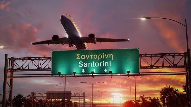Avião para Santorini